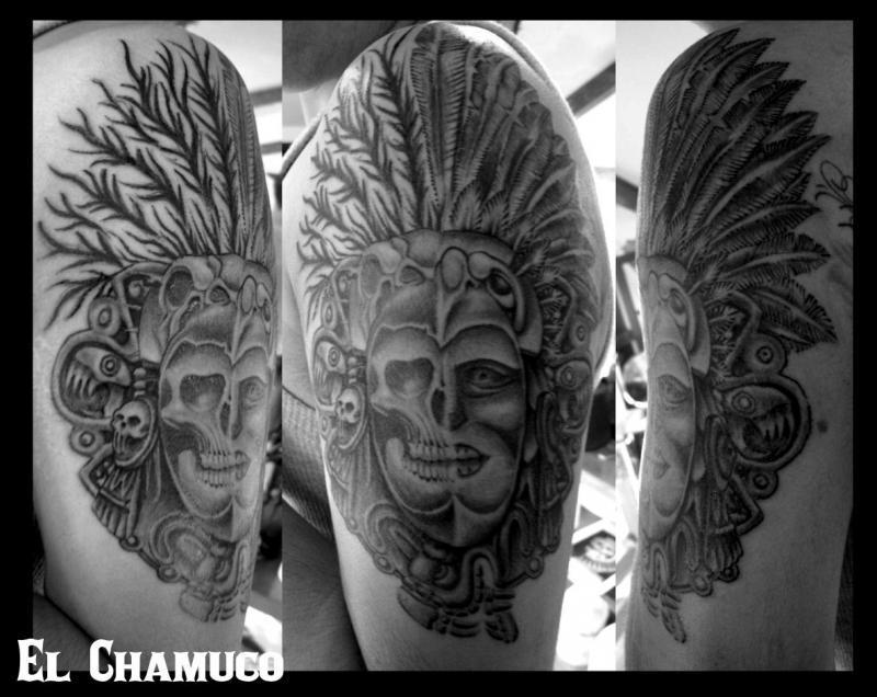 Estebans Aztec arm by El Chamuco