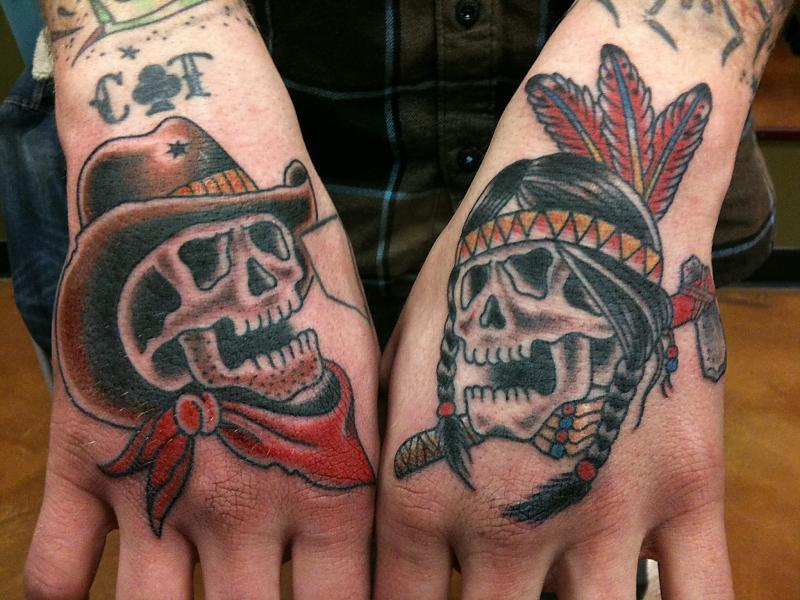 cowboy and indian skull