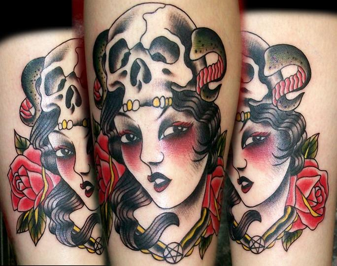 awesome lady head with skull
