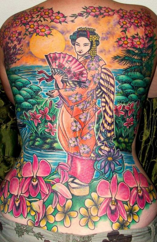 geisha back piece
