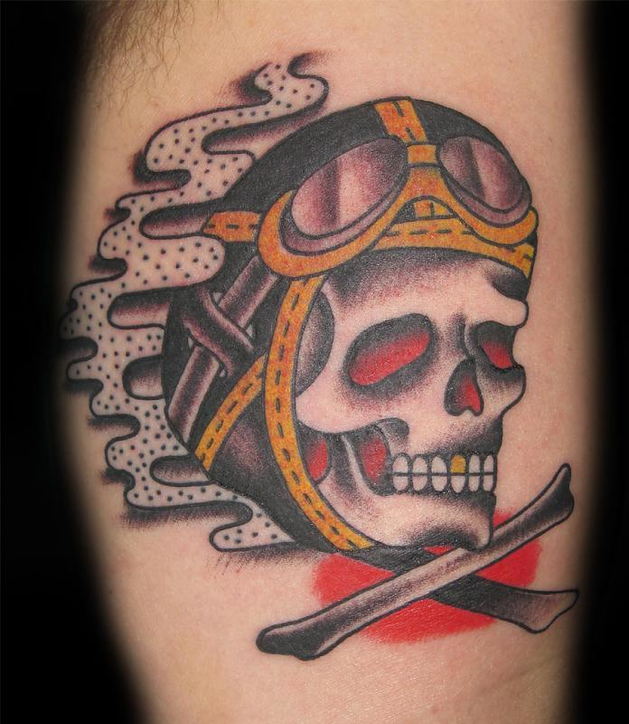 Skull tattoos death tattoos last sparrow tattoo for Traditional motorcycle tattoo