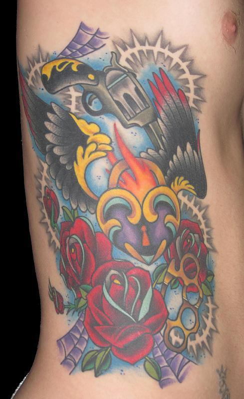 pistol rose heart tattoos