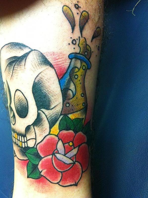 tattoos skull and rose