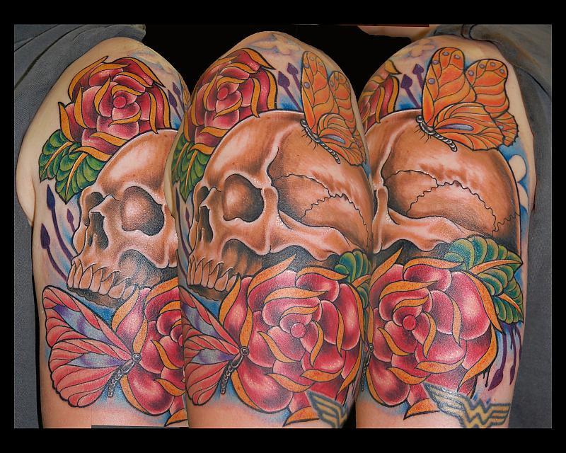 Skull Roses Butterfly