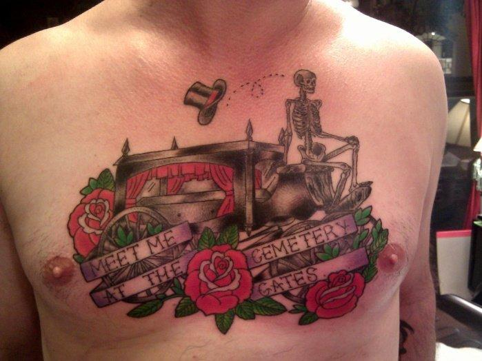 Meet me at the cemetery gates chest piece