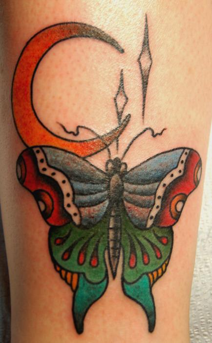 Tattooing Butterfly and Moon