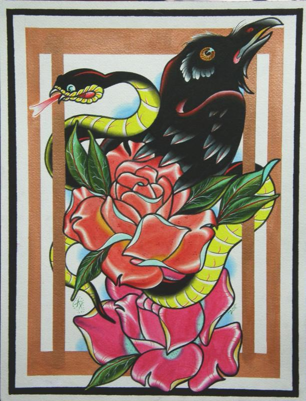 raven snake and roses painting