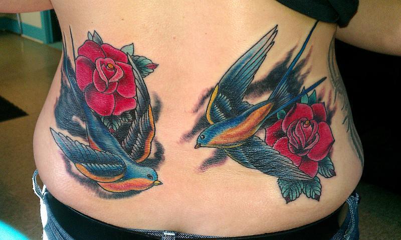 sparrows with roses