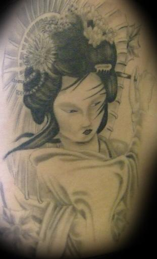black and grey geisha