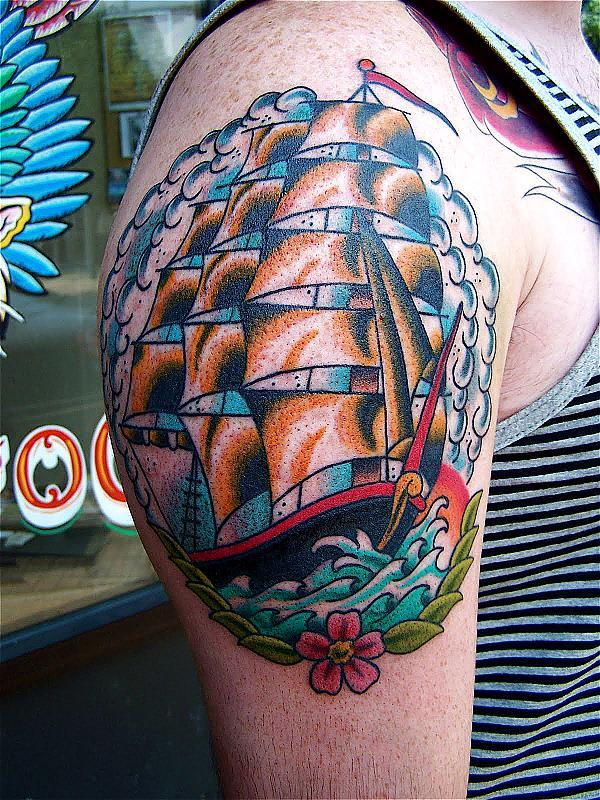 traditional tattoo clipper ship nick branfield