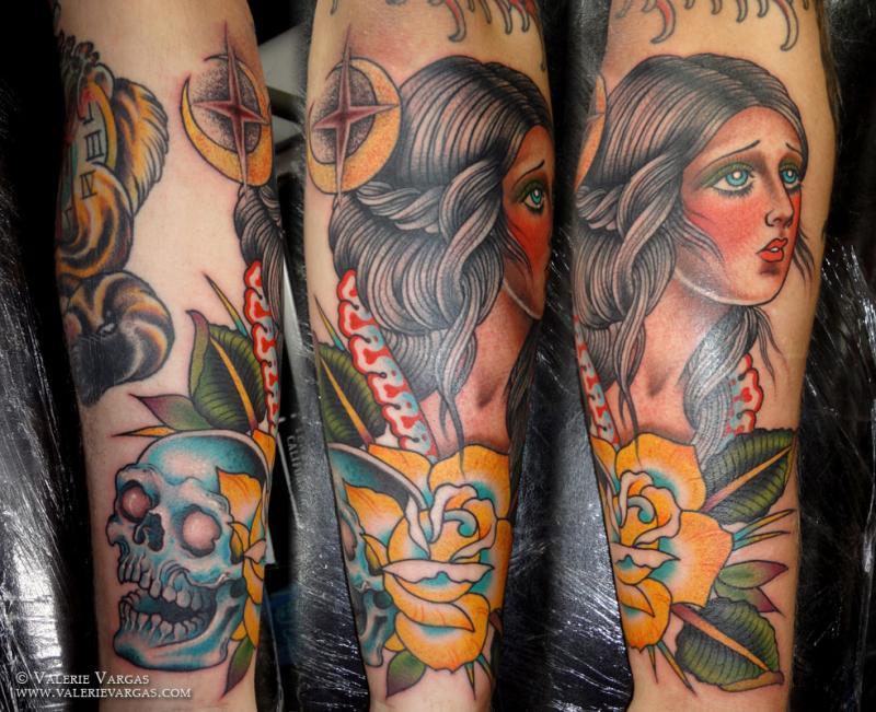 girl with blue skull