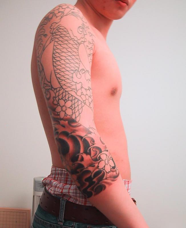 japanese koi 3 4 sleeve tattoo by sl69