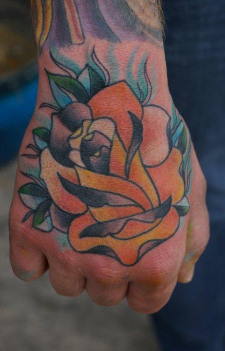 Rose on hand