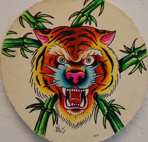 tiger round painting
