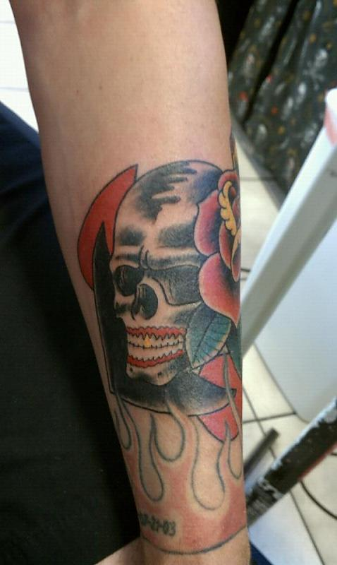 Navy Anchor Skull and Rose