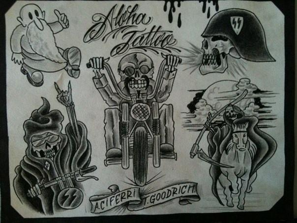 Biker Dust Tattoo flash By Tim Goodrich and Adam Ciferri