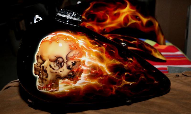 Flaming skull bike