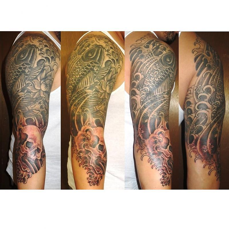 Koi and Skull three quarter sleeve