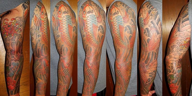 Koi and Flowers Full Sleeve