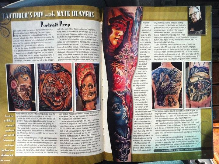 Skin and Ink Article with my left sleeve and skull mary