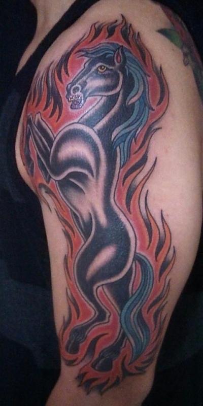 Flaming Black Horse