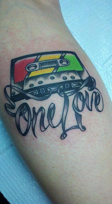 One Love Tape on Leg