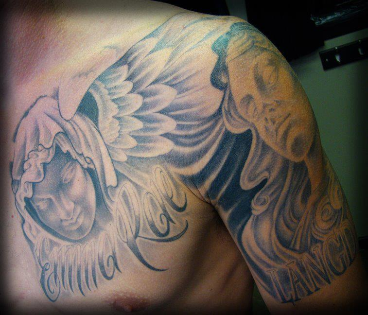 Black n Grey Chest to half sleeve
