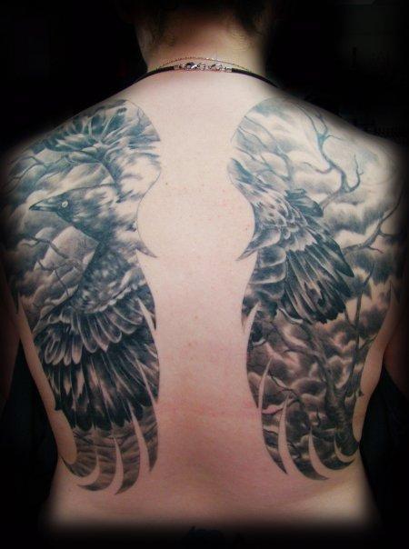 Raven n Wings on Back