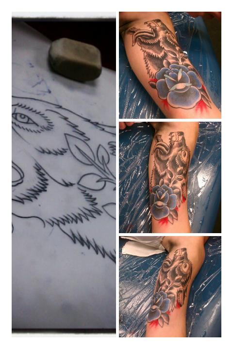 wolf rose tattoo