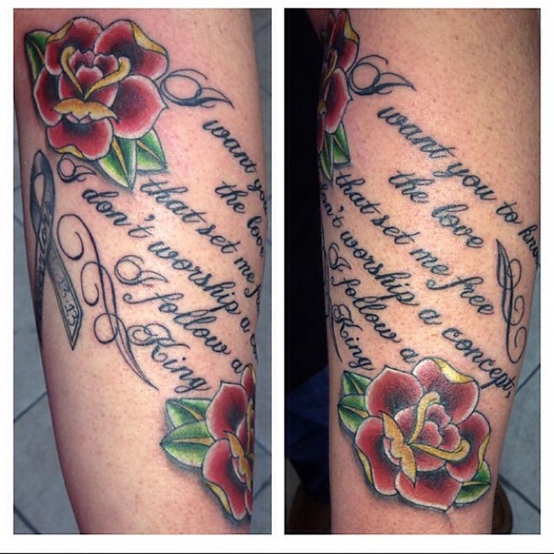 Lyrics and Roses forearm tattoo