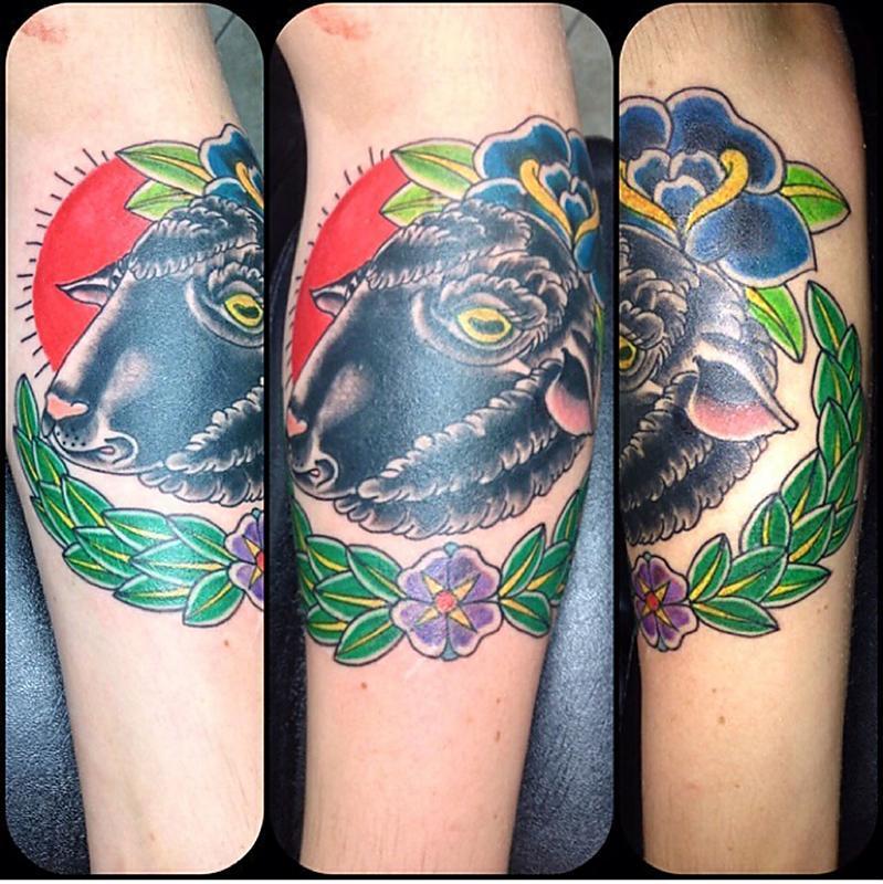 Traditional Black Sheep Tattoo