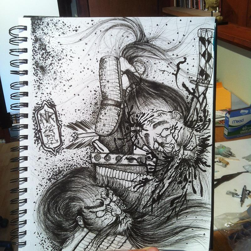 samurai and severed head