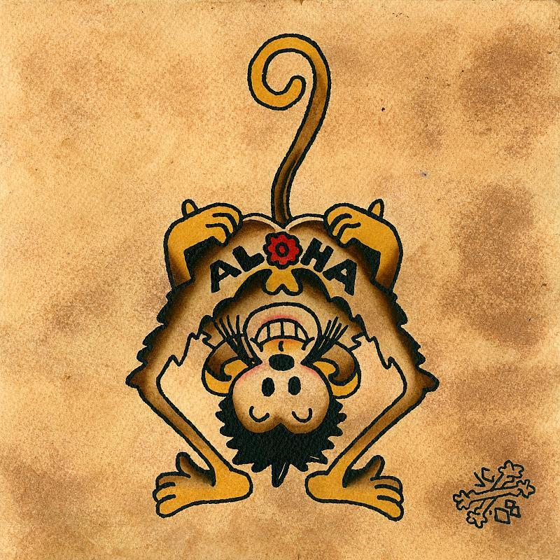 sailor jerry aloha monkey painting