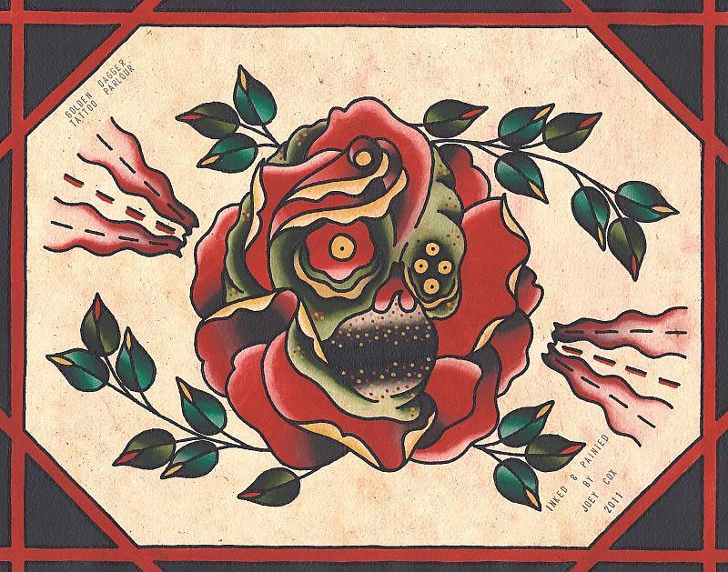 skullrose painting