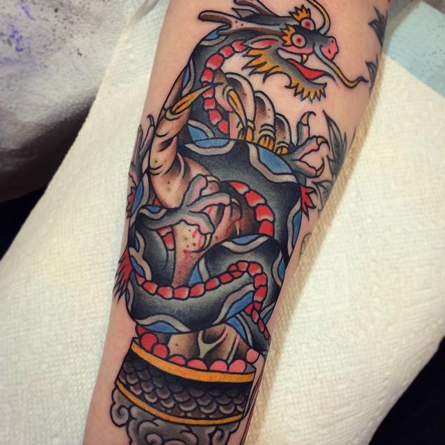 dragon and creepy hand