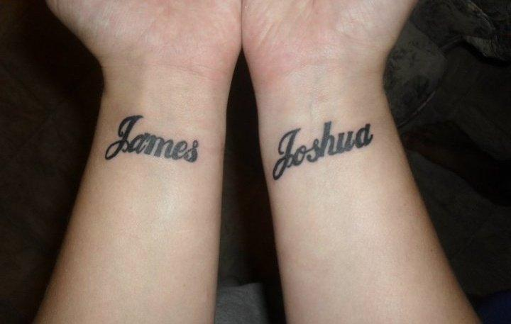 Lettering wrist tattoo
