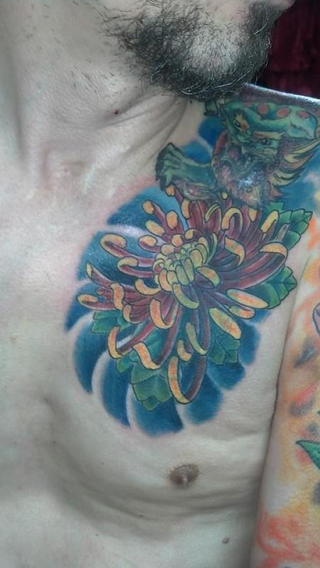 more art work foo dog over shoulder then chest piece still have to do back side below foo dog the fl