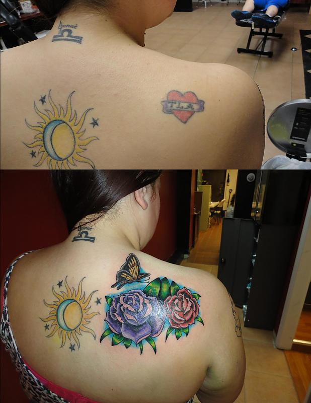 roses coverup before after