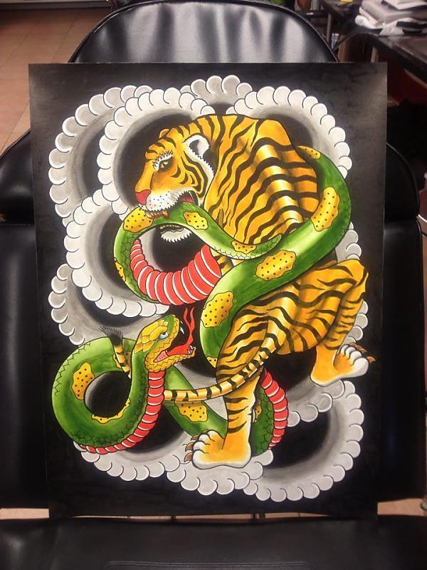Tiger Fighting Snake