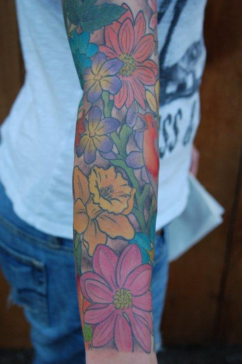 birds and flowers sleeve 2