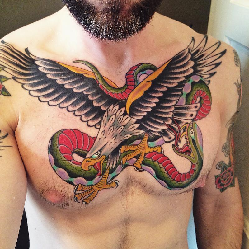 Eagle and snake chest piece