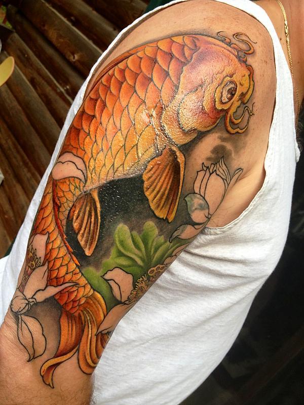 Koi & Lotus flower Half sleeve progress