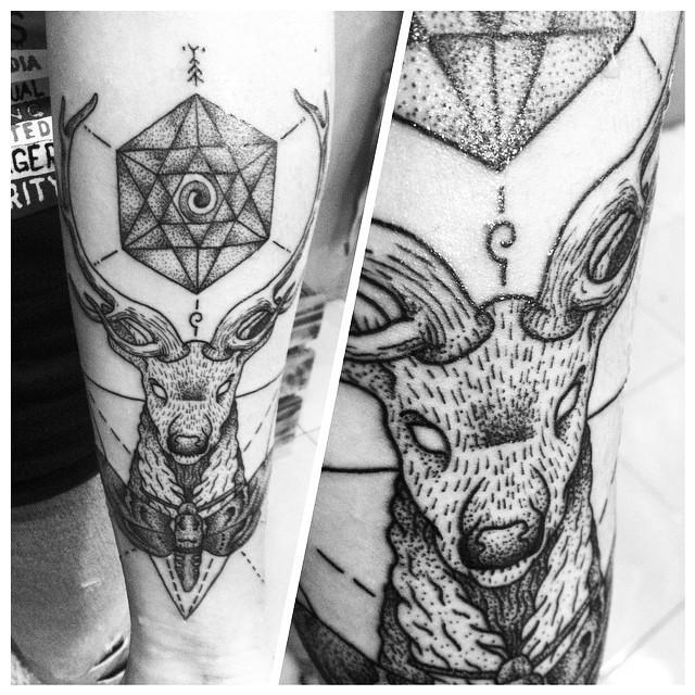 Geometric Deer Dotwork