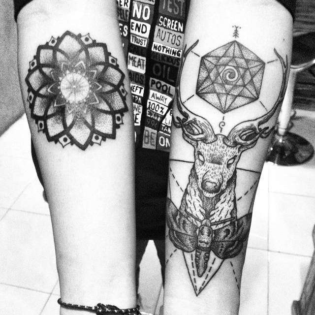 Mandala and Deer dotwork