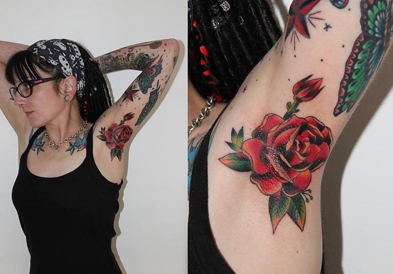 Rose in armpit by Peter Tyas of Glory Bound Tattoo UK