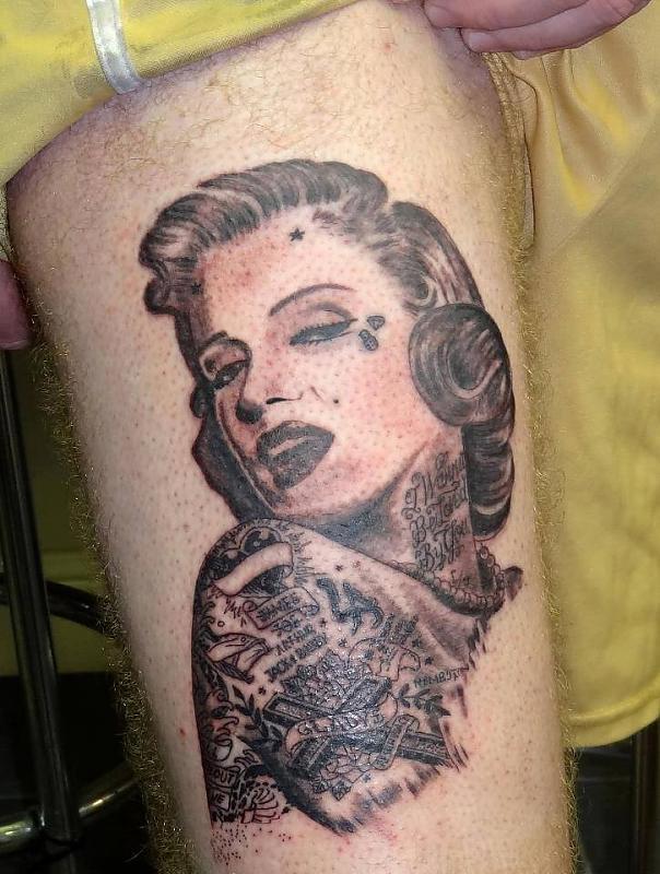 Tattooed Monroe by Peter Tyas of Glory Bound Tattoo UK