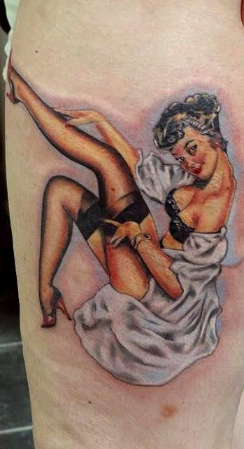 Bright pin up by Peter Tyas of Glory Bound Tattoo UK