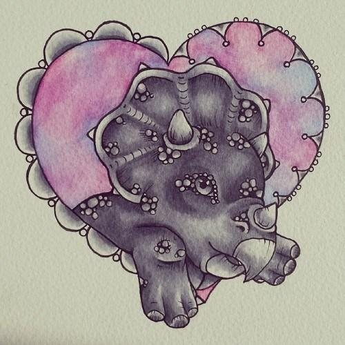 Triceratops Watercolour Flash by Lady Gabe