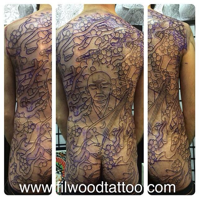 Hoichi the earless back piece