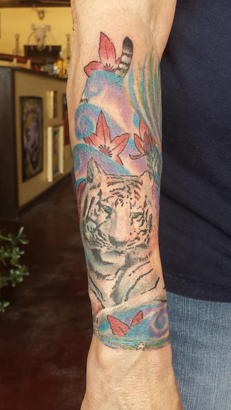 Tiger on forearm